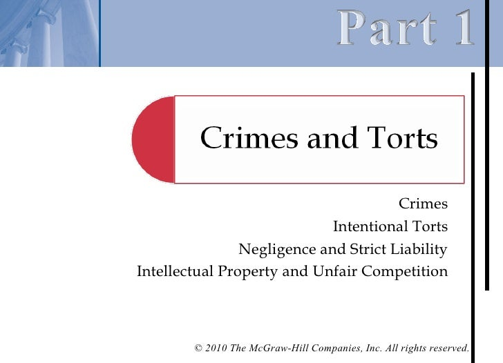 Crimes                             Intentional Torts                Negligence and Strict LiabilityIntellectual Property a...