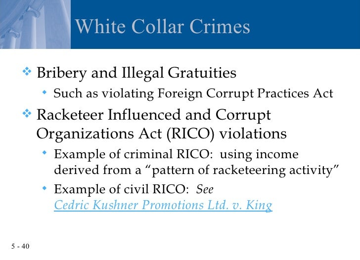 an introduction to racketeer influenced and corrupt organizations act rico I introduction the racketeer influenced and corrupt organizations act ( rico)' has, since its enactment in 1970, been utilized in an increasing number.