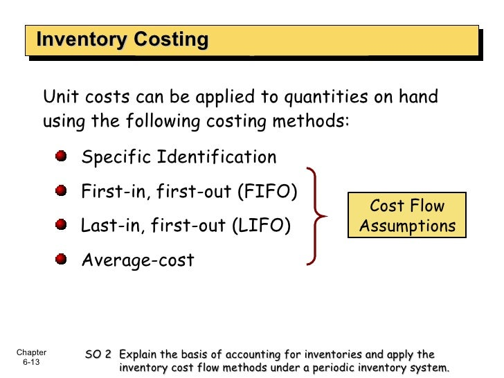 Inventory Costing <ul><li>Unit costs can be applied to quantities on hand using the following costing methods: </li></ul><...