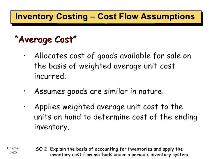 Inventory Costing – Cost Flow Assumptions <ul><ul><li>Allocates cost of goods available for sale on the basis of weighted ...