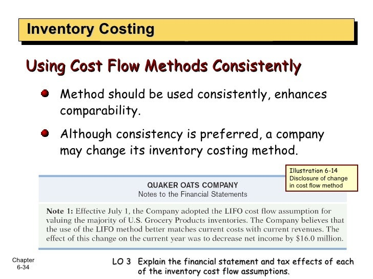 Inventory Costing Using Cost Flow Methods Consistently <ul><ul><li>Method should be used consistently, enhances comparabil...