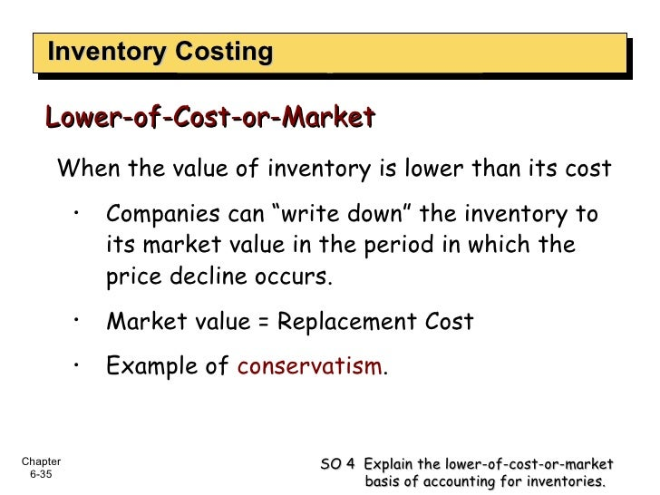 Inventory Costing Lower-of-Cost-or-Market SO 4  Explain the lower-of-cost-or-market basis of accounting for inventories. <...