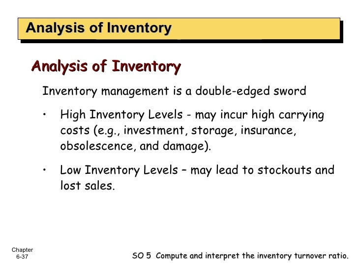 Analysis of Inventory <ul><li>Inventory management is a double-edged sword </li></ul><ul><li>High Inventory Levels - may i...
