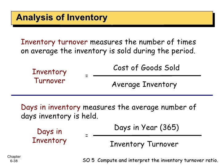 Analysis of Inventory Inventory turnover   measures the number of times on average the inventory is sold during the period...