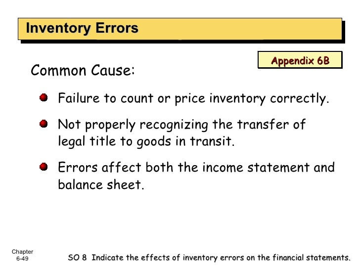 Inventory Errors SO 8  Indicate the effects of inventory errors on the financial statements. <ul><li>Common Cause: </li></...
