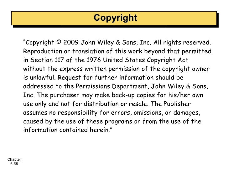 """Copyright """" Copyright © 2009 John Wiley & Sons, Inc. All rights reserved. Reproduction or translation of this work beyond ..."""