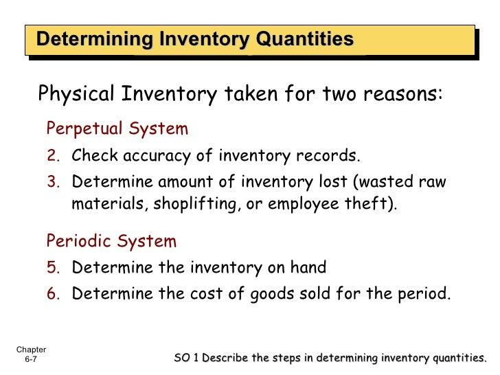 Determining Inventory Quantities Physical Inventory taken for two reasons: <ul><li>Perpetual System </li></ul><ul><li>Chec...