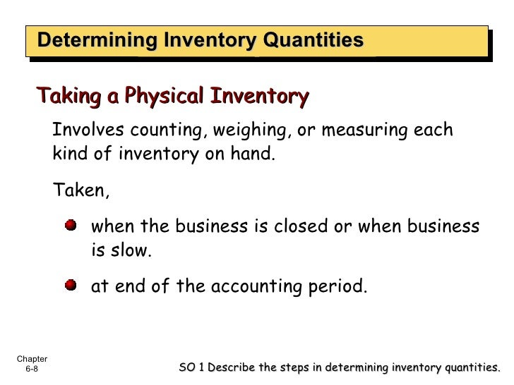 Determining Inventory Quantities <ul><li>Involves counting, weighing, or measuring each kind of inventory on hand. </li></...