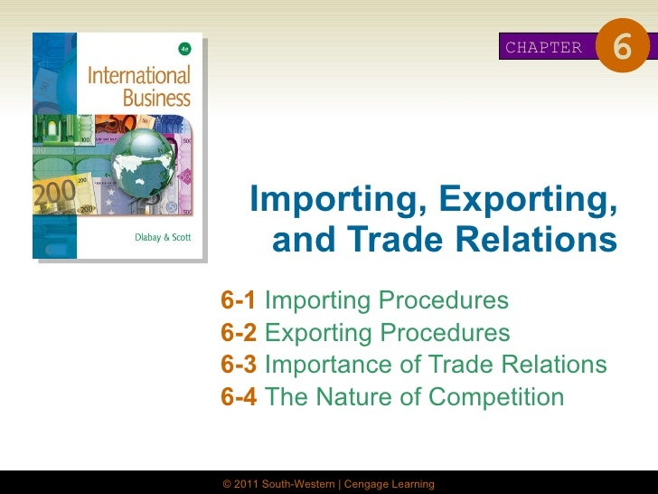 Importing, Exporting, and Trade Relations 6-1   Importing Procedures 6-2  Exporting Procedures 6-3  Importance of Trade Re...
