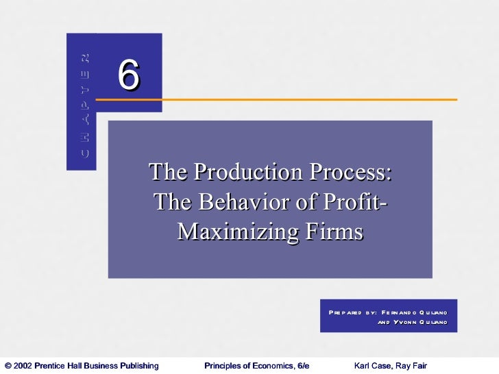 The Production Process: The Behavior of Profit- Maximizing Firms