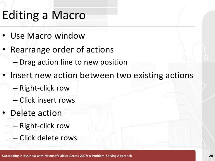 Editing a Macro<br />Use Macro window<br />Rearrange order of actions <br />Drag action line to new position<br />Insert n...