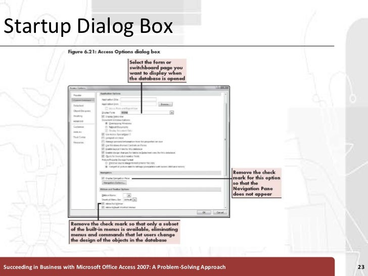 Startup Dialog Box<br />Succeeding in Business with Microsoft Office Access 2007: A Problem-Solving Approach <br />23<br />