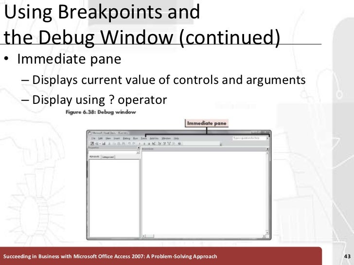 Using Breakpoints and the Debug Window (continued)<br />Immediate pane<br />Displays current value of controls and argumen...