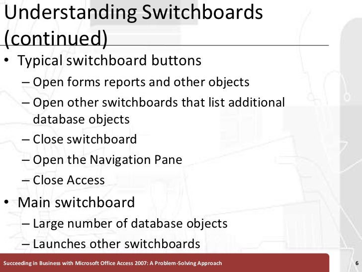 Understanding Switchboards (continued)<br />Typical switchboard buttons<br />Open forms reports and other objects <br />Op...