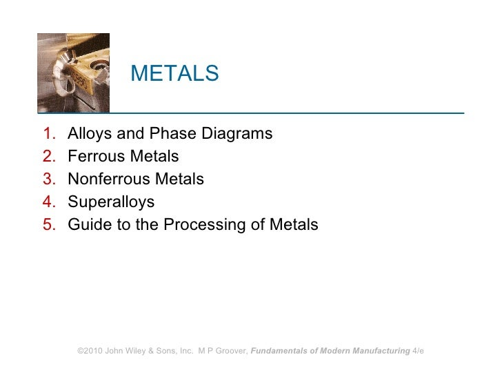METALS <ul><li>Alloys and Phase Diagrams </li></ul><ul><li>Ferrous Metals </li></ul><ul><li>Nonferrous Metals </li></ul><u...