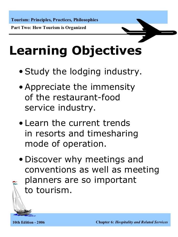 Learning Objectives <ul><li>Study the lodging industry. </li></ul><ul><li>Appreciate the immensity  of the restaurant-food...
