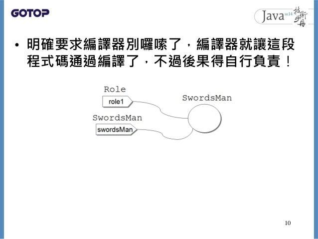 • 明確要求編譯器別囉嗦了,編譯器就讓這段 程式碼通過編譯了,不過後果得自行負責! 10