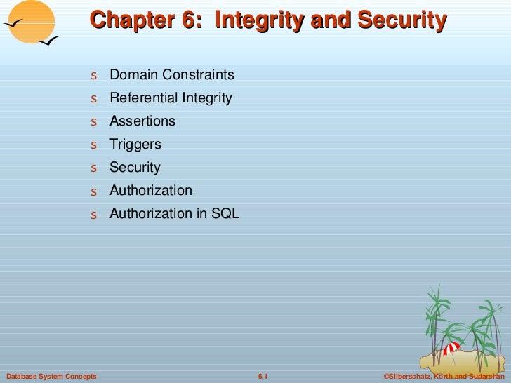 Chapter 6:  Integrity and Security <ul><li>Domain Constraints  </li></ul><ul><li>Referential Integrity </li></ul><ul><li>A...