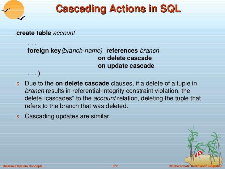 Cascading Actions in SQL <ul><li>create table  account </li></ul><ul><li>. . . foreign key (branch-name)  references  bran...