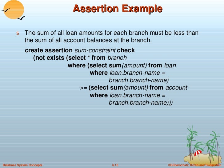 Assertion Example <ul><li>The sum of all loan amounts for each branch must be less than the sum of all account balances at...