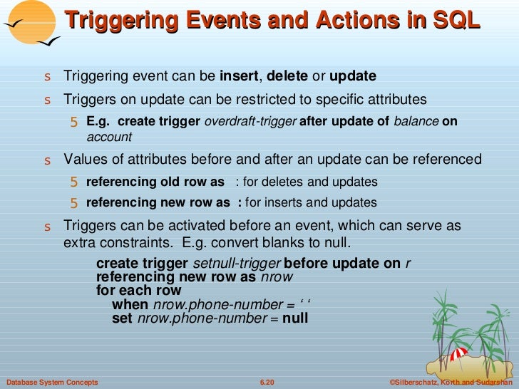 Triggering Events and Actions in SQL <ul><li>Triggering event can be  insert ,  delete  or  update </li></ul><ul><li>Trigg...