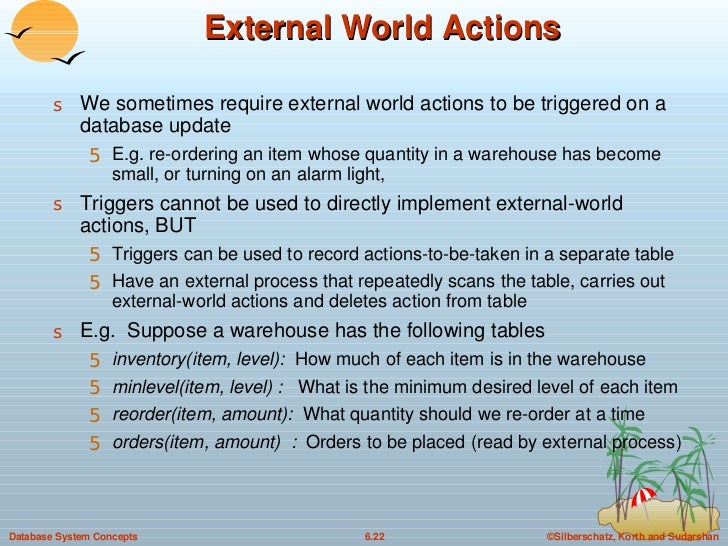 External World Actions <ul><li>We sometimes require external world actions to be triggered on a database update </li></ul>...