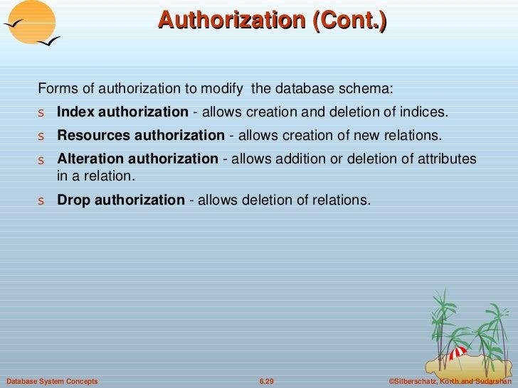 Authorization (Cont.) <ul><li>Forms of authorization to modify  the database schema: </li></ul><ul><li>Index authorization...