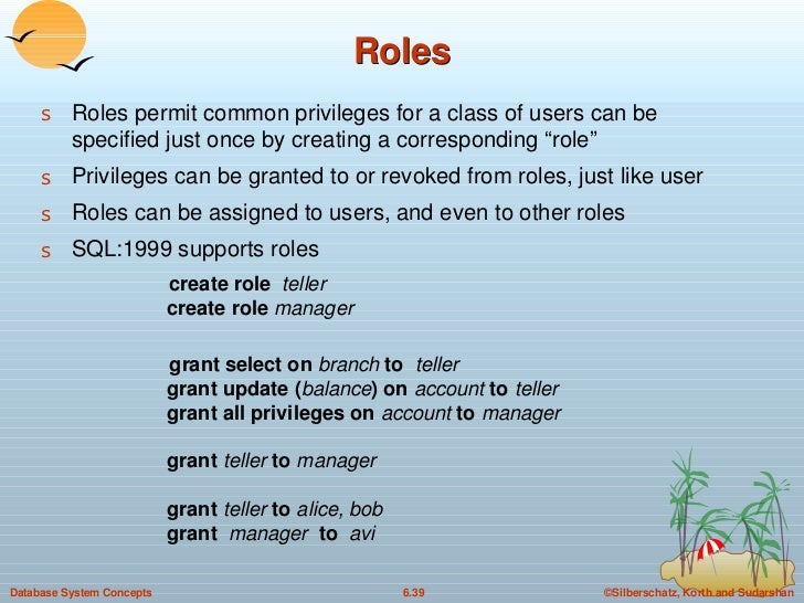 """Roles <ul><li>Roles permit common privileges for a class of users can be specified just once by creating a corresponding """"..."""
