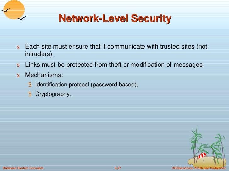 Network-Level Security <ul><li>Each site must ensure that it communicate with trusted sites (not intruders). </li></ul><ul...