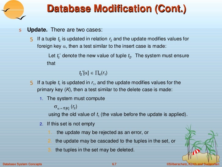 Database Modification (Cont.) <ul><li>Update.   There are two cases: </li></ul><ul><ul><li>If a tuple  t 2  is updated in ...