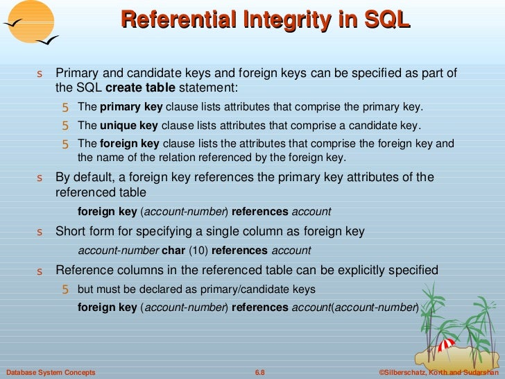 Referential Integrity in SQL <ul><li>Primary and candidate keys and foreign keys can be specified as part of the SQL  crea...