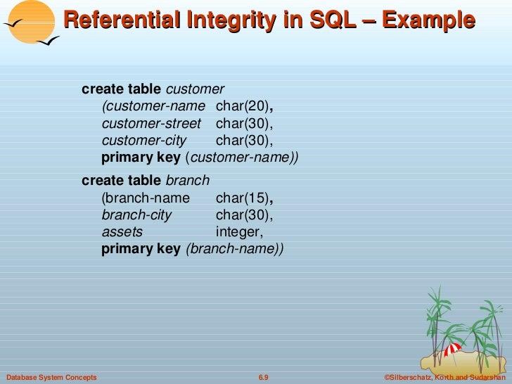 Referential Integrity in SQL – Example <ul><li>create table  customer (customer-name char(20) , customer-street char(30), ...