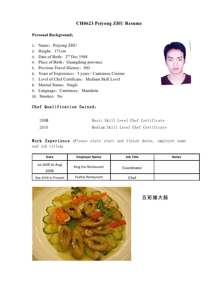 CH0623 Peiyong ZHU Resume  Personal Background:  1. Name:Peiyong ZHU 2. Height:171cm 3. Date of Birth:2nd Dec 1988 4. Plac...