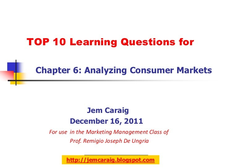 TOP 10 Learning Questions for Chapter 6: Analyzing Consumer Markets              Jem Caraig          December 16, 2011   F...