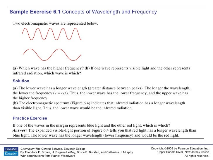 Sample Exercise 6.1  Concepts of Wavelength and Frequency If one of the waves in the margin represents blue light and the ...