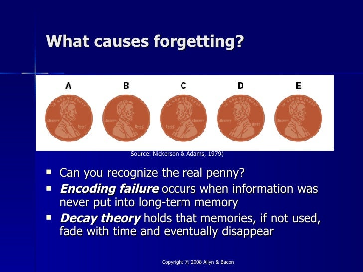 nickerson adams 1979 long term memory The psychology of forgetting and why memory fails nickerson, r s, & adams, m j long-term memory for a common object cognitive psychology, 197911(3).