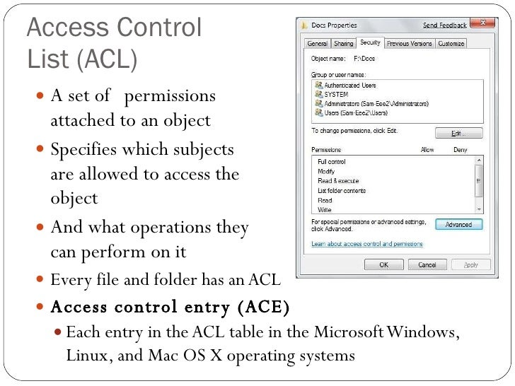 access control lists An access control list (acl) is a list of access control entries (ace.