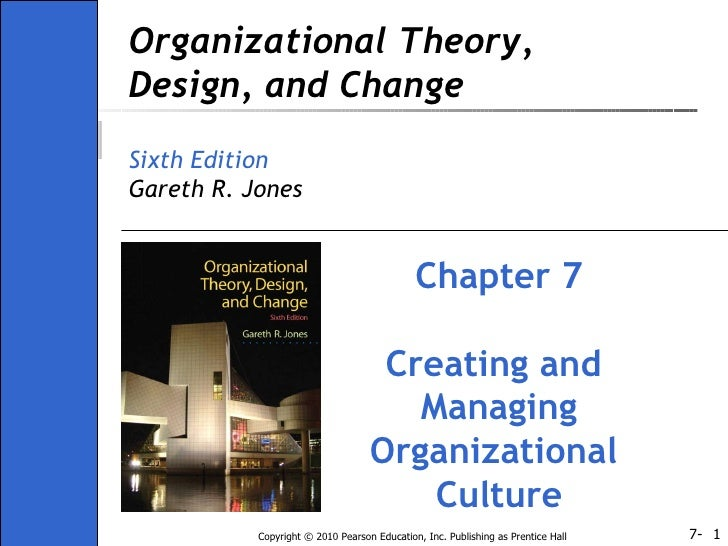 Organizational Theory, Design, and Change Sixth Edition Gareth R. Jones Chapter 7 Creating and  Managing Organizational  C...