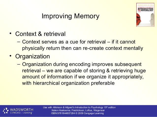 Improving memory encoding storage and retrieval
