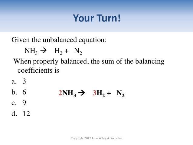 15 BALANCING CHEMICAL EQUATIONS WORKSHEET N2 H2 NH3 ...