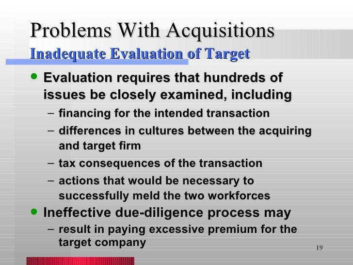 Problems With Acquisitions <ul><li>Evaluation requires that hundreds of issues be closely examined, including </li></ul><u...