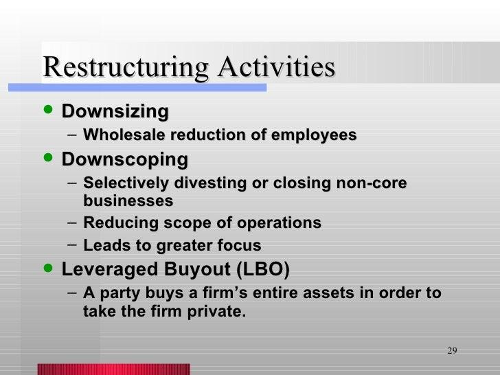 Restructuring Activities <ul><li>Downsizing </li></ul><ul><ul><li>Wholesale reduction of employees </li></ul></ul><ul><li>...