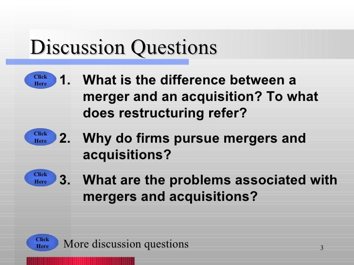Discussion Questions <ul><li>What is the difference between a merger and an acquisition? To what does restructuring refer?...