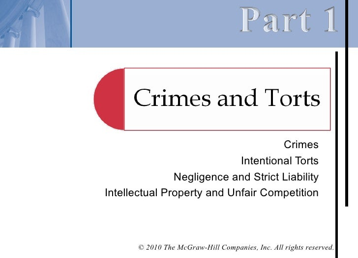 Crimes                            Intentional Torts               Negligence and Strict LiabilityIntellectual Property and...