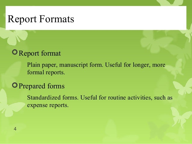 format for reports