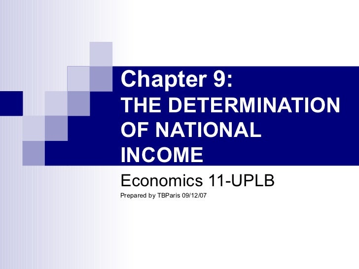 Chapter 9:  THE DETERMINATION OF NATIONAL INCOME Economics 11-UPLB Prepared by TBParis 09/12/07