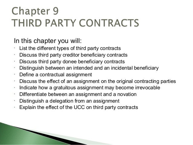 In this chapter you will:•   List the different types of third party contracts•   Discuss third party creditor beneficiary...