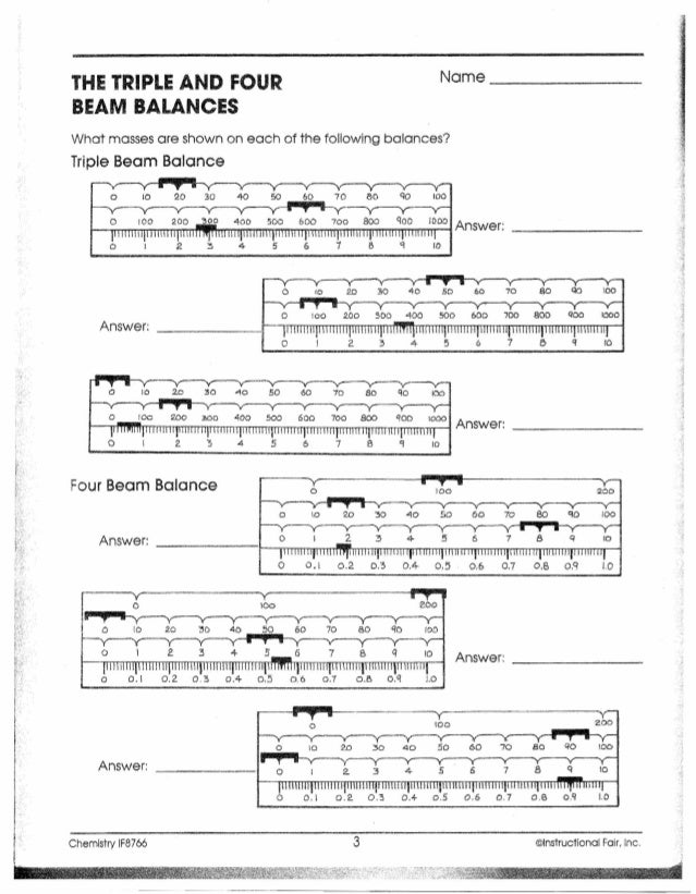 Reading A Triple Beam Balance Worksheet - Delibertad