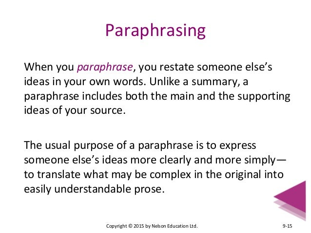 Benefits of paraphrasing format