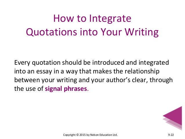 integrate a quote with a signal phrase that precedes the quote essay